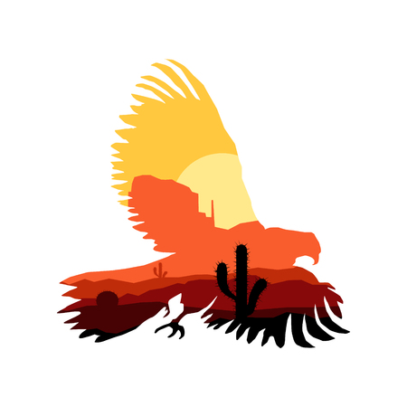 Image silhouette of western eagle with rocks. Illustration