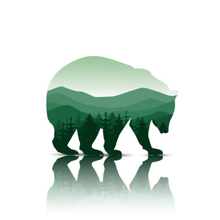 Silhouette of bear with panorama of mountains. Green tones. Walking on the ice.