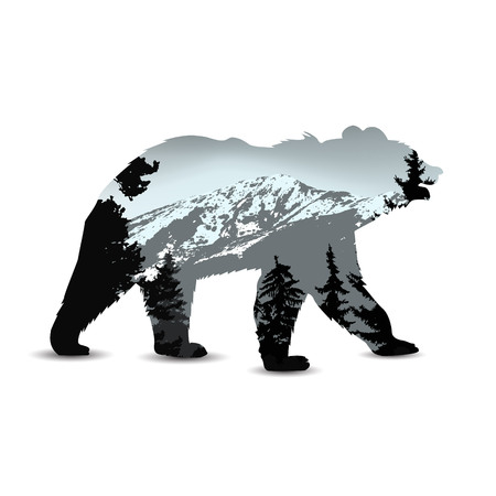 Silhouette of bear with panorama of mountains and coniferous trees. Grey tones. Illustration