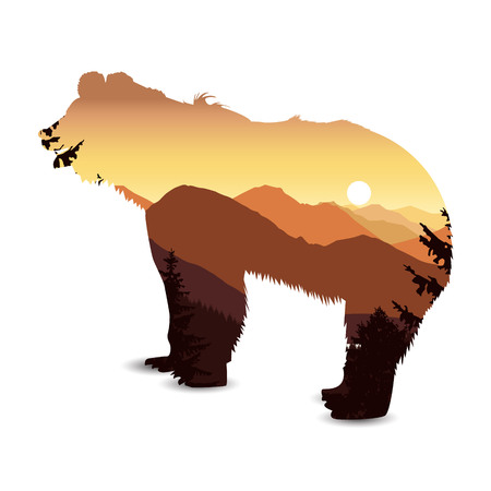 Silhouette of bear with mountain landscape. Sunset.