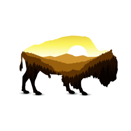 Image landscape. Silhouette of buffalo with panorama of mountain valley and coniferous trees. Golden shades. Sunset.