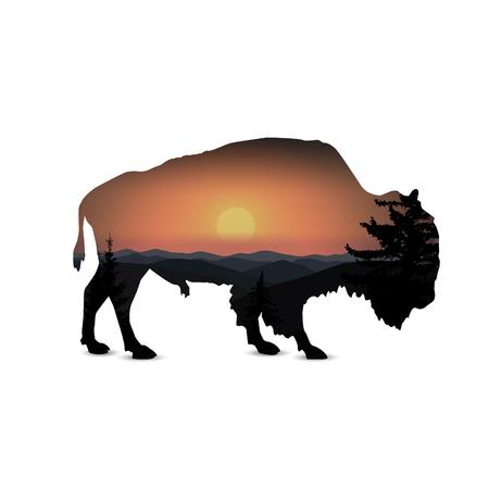 Silhouet van stier met berglandschap.