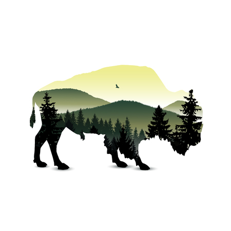 Landscape. Silhouette of buffalo with panorama of mountains. A fog. Green and yellow tones.