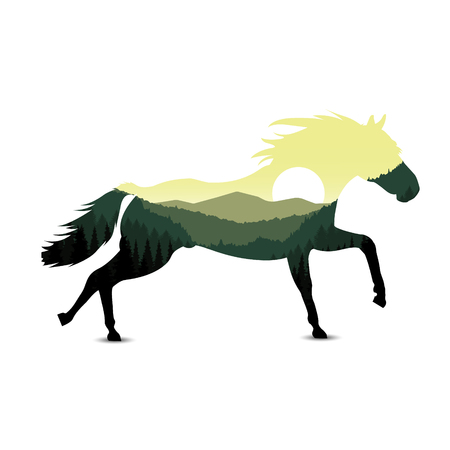 Image silhouette of horse with mountain landscape. Green and yellow tones.