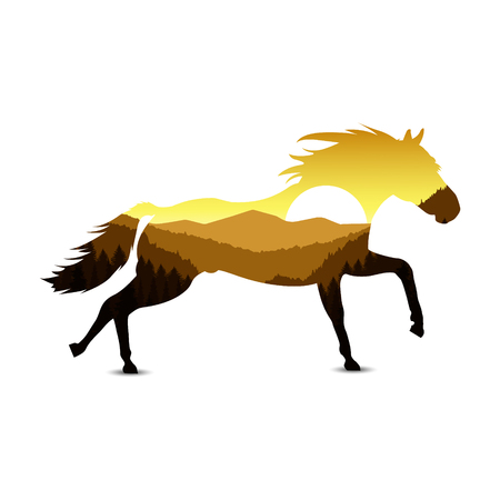 Silhouette of horse with mountain landscape. Golden tones.
