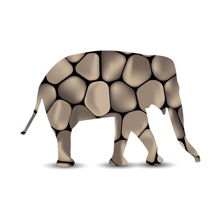 Silhouette of elephant with spa stones background.