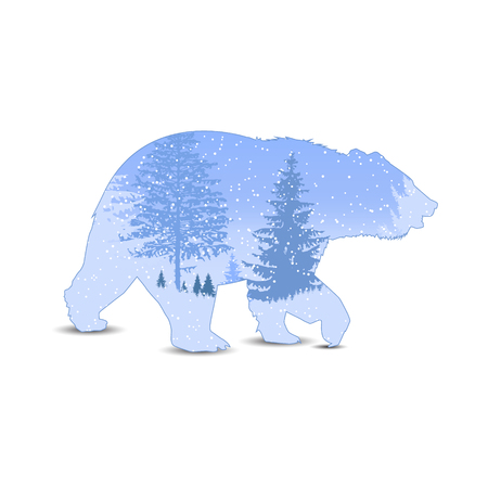 Silhouette of bear with panorama of mountains.   Winter. Snowing. Illustration