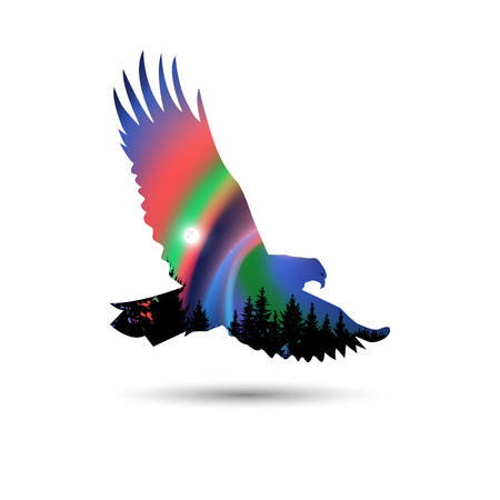 Silhouette of eagle with coniferous trees on the background of colorful sky. Moon. Northern lights.