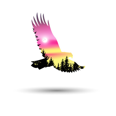 Silhouette of eagle with coniferous trees on the background of colorful sky. Northern lights. Illustration