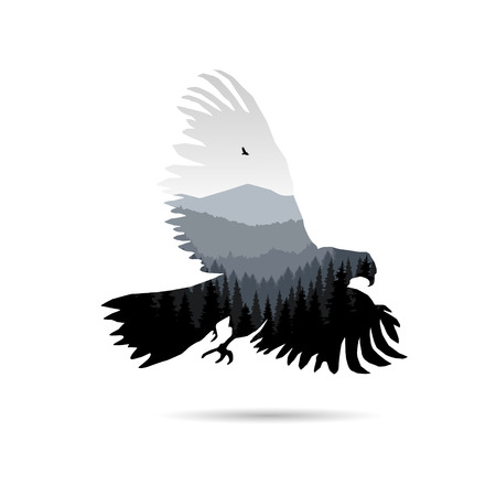 Silhouette of eagle with panorama of mountains. Valley(canyon).   Sunset. Gray shades.
