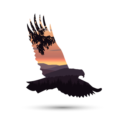 Silhouette of eagle with mountains and coniferous trees on the background of colorful sky. Sunset. Illustration