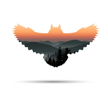 Silhouette of owl with panorama of mountains. Sunset. Mist.