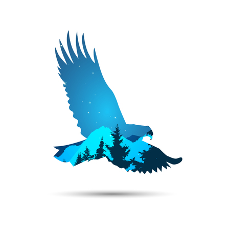 Silhouette of eagle with coniferous trees and snowy rocks on the background of night sky.