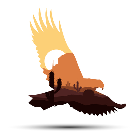 Silhouette of western eagle with rocks.