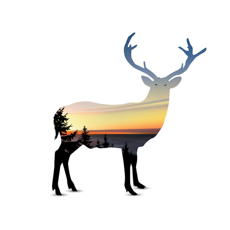 Silhouette of  deer with coniferous trees, sea horizon and colorful sky. Sunset.