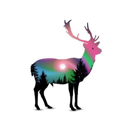 Silhouette of deer with coniferous trees on the background of colorful sky.  Flying eagle. Northern lights. Illustration