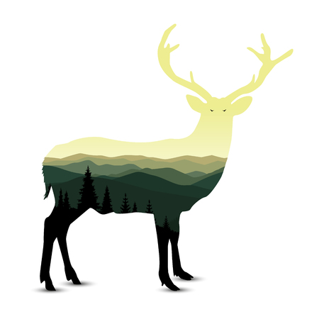 Silhouette of deer with mountain landscape. Green and yellow shades. Sunset. Illustration
