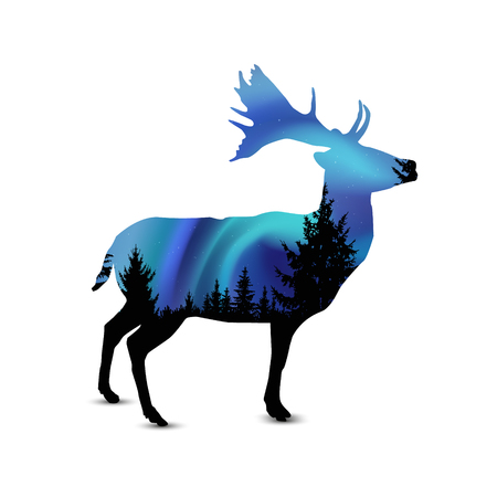 northern light: Silhouette of deer with pine trees on the background of blue sky. Northern lights.