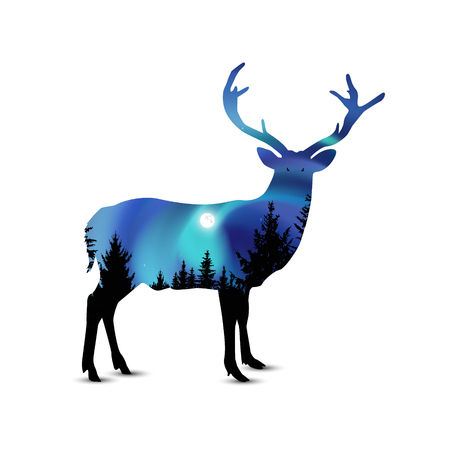 Silhouette of wild deer with coniferous trees on the background of colorful sky.   Night. Northern lights.