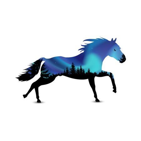Silhouet van het runnen van paard met naaldbomen op de achtergrond van kleurrijke hemel. Aurora.