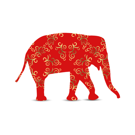 Silhouette of elephant with vintage curls. Golden and red shades.