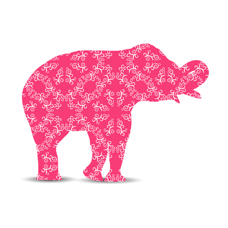 Silhouette of elephant with retro pastel shades ornament.