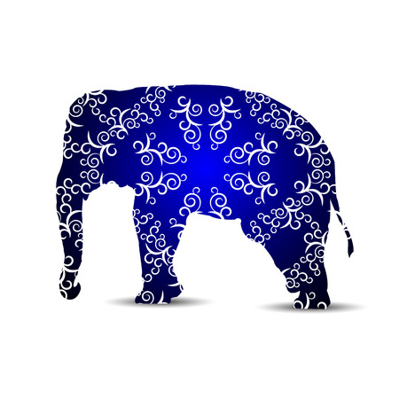 Silhouette of elephant with white curls on the black and blue background.
