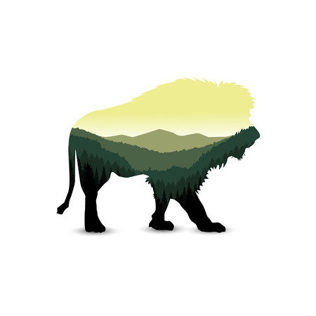 Silhouette of lion with panorama of mountains. Valley(canyon). Three peaks. Natural shades.