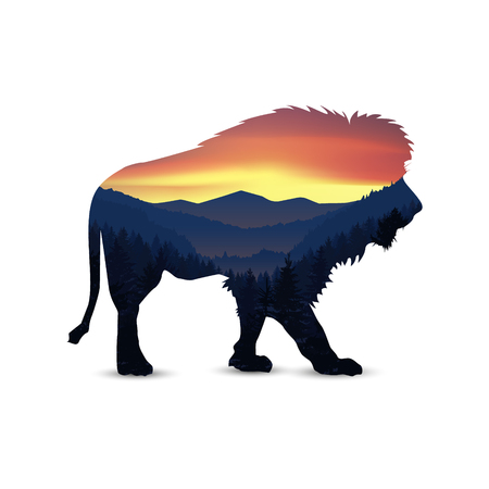 Silhouette of lion with panorama of mountains. Valley(canyon). Three peaks.
