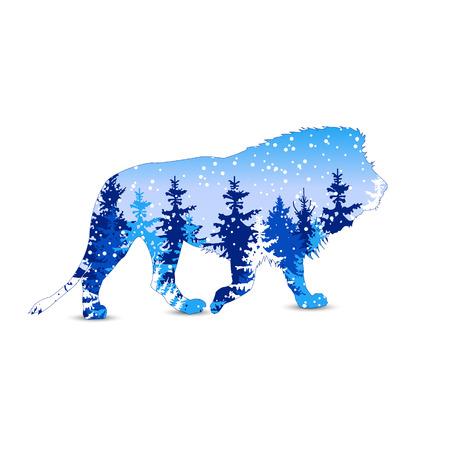 Silhouette of lion with winter woodland. Snowing. Blue tones.