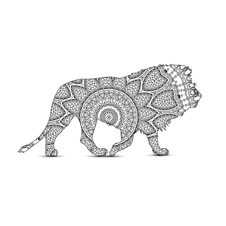 Silhouette of lion with king`s circular ornament.  Zentagle art.