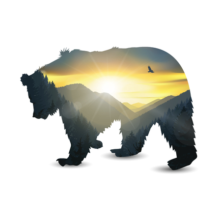 Silhouette of running bear with mountains panorama. Colorful sunset in wild valley.