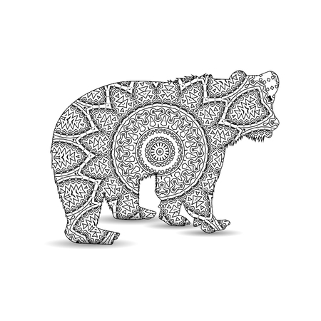 Silhouette of bear with king`s circular ornament.  Zentagle art.