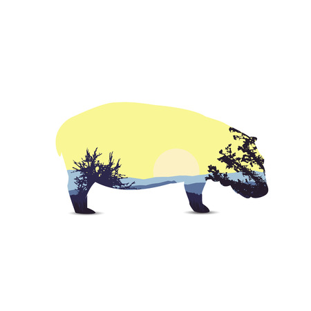 Silhouette of hippo with african landscape. Sunset. Blue and yellow tones.