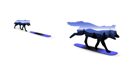 double game: Silhouette of wolf on snowboard with mountain landscape.