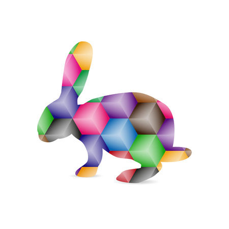 Silhouette of hare with colorful polygonal background.