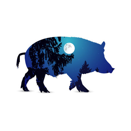 Silhouette of boar with night sky, moonlight and branches of trees.