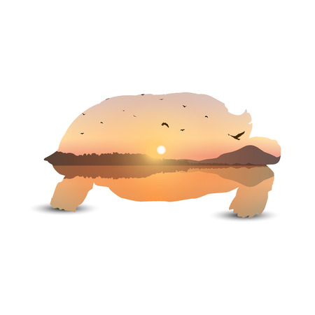 Silhouette of turtle with landscape background. Sunset on exotic island with volcano. A flock of birds on the background of colorful sky .