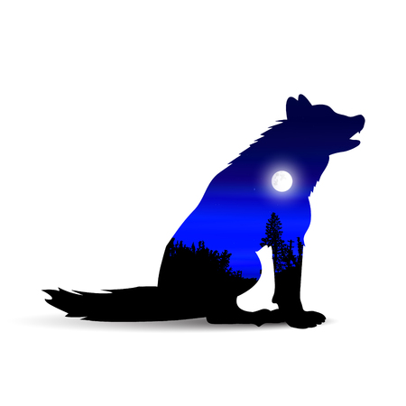 Silhouette of howling wolf  with wild landscape and moonlight sky. Illustration