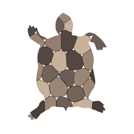 Silhouette of turtle with spa stones background.