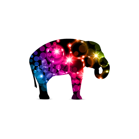 Silhouette of elephant with colorful neon bubbles and stars. Illustration