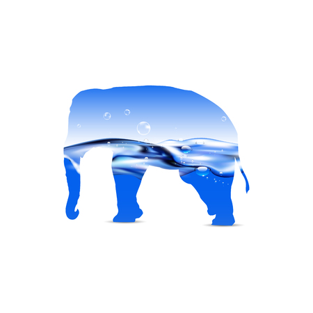 aerated: Silhouette of elephant with water waves. Transparent surface with bubbles of air.
