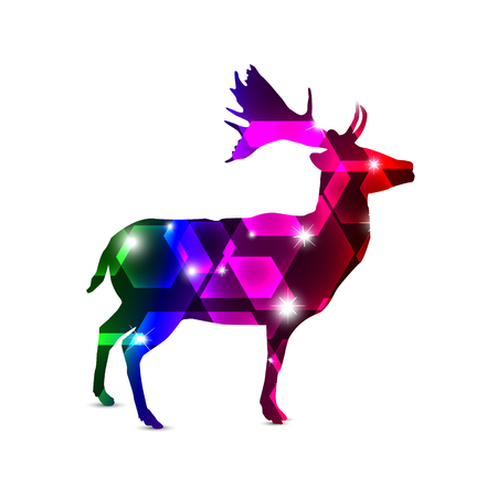 Silhouette of deer with colorful neon hexagons and stars.