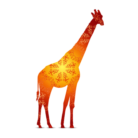 Silhouette of giraffe with retro ornament background. Red and yellow tones.