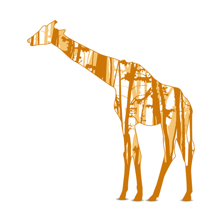 Silhouette of giraffe with trunks of trees.  Orange (brown) tones.