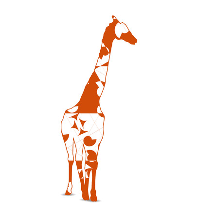 Silhouette of giraffe with background of abstract forms (scrolls, triangles) Illustration