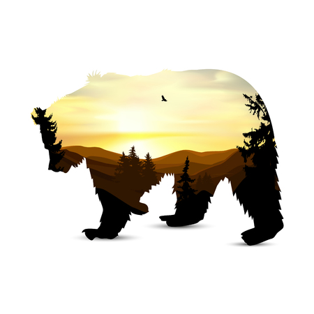 Silhouette of bear with background of mountains panorama. Colorful sunset in wild valley. Windy sky. Brown tones.