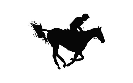 Horse race. Equestrian sport. Silhouette of racing horse with jockey. Jumping. Fifth step.