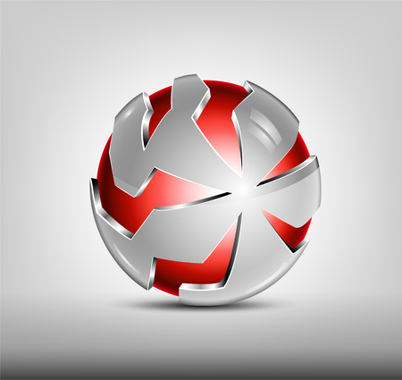 Security abstract 3d design. Red glossy sphere, silver cover with slits. Hi tech badge. Stock Photo