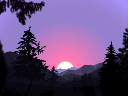 coniferous forest: Panorama of mountains. Valley(canyon).  Sunset. Violet and pink tones.